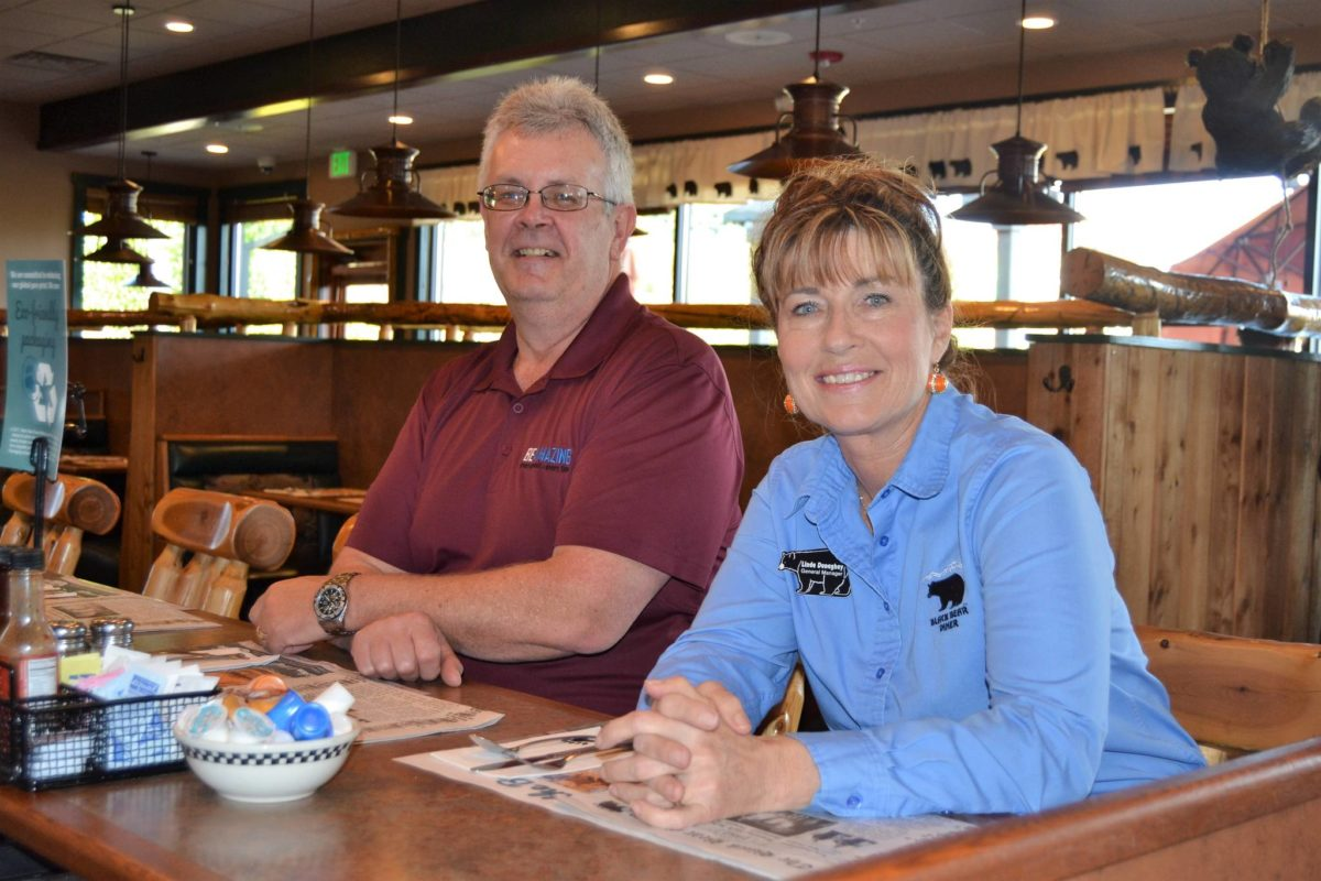 Sequim's Black Bear Diner's Assistant General Manager Bill Carmichael General Manager Linda Donaghay say the Sequim franchise has the largest annual sales growth since 2016. At 11 percent, the store's sales growth is the most in the company, Donaghay said. Sequim Gazette photo by Matthew Nash