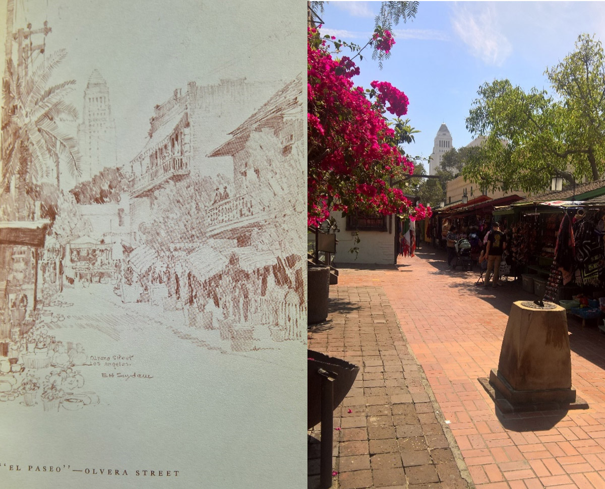 Olvera Street in the 1930's and today